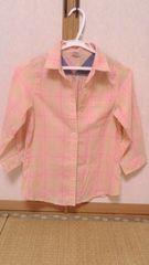 BACK NUMBER KIDSサイズ140パステルカラー春色七分袖チェックシャツ