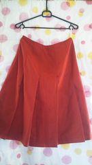 美品膝丈スカート(W67�p)赤