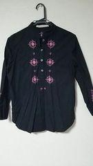 RayBEAMS☆*アジアン。刺繍☆*黒★☆シャツ