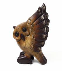 羽ばたきフクロウ★木彫り置物★アジアン雑貨/みみずく★不苦労