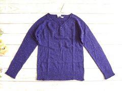 新品 FIND FAVOR 紫 ヘンリー アンゴラ ニット セーター