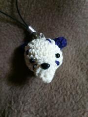 手編みのあみぐるみ、ダルメシアン顔ストラップ、犬