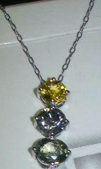新品※Pt900※ダイヤとサファイアのトリロジーネックレス☆☆