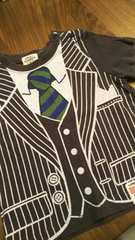 80FRAT CHAPS ★スーツジャケットネクタイプリント白半袖Tシャツ
