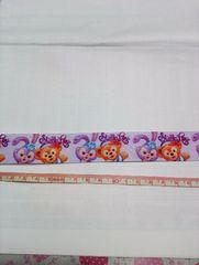【薄紫】約24mm巾 ロゴ入ダッフィー&ステラ柄リボン1M