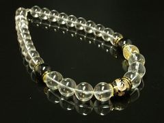豪華デザイン!!金彫皇帝龍ブラックオニキス×水晶クリスタル数珠ネックレス