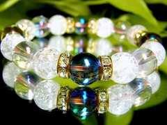 ブルーオーラ§ピンクオーラ§クラック水晶10ミリ金ロンデル数珠