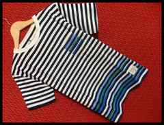 アクセントカラーボーダー胸ポケットTシャツ/白紺/L