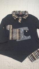 calabaza/カラバサ/長袖変形カットソー/黒/ポケット有り