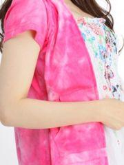 新品ムラ染カラー半袖パーカーピンク