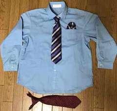 ワイシャツ 130cm 簡単装着ネクタイ2本 ハンカチーフ1枚セット