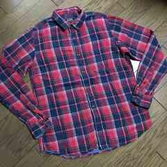 BEAMS レザー使用チェックシャツ ビームス