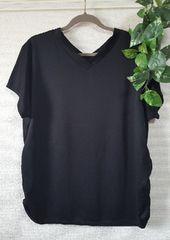 【大きいサイズ】VネックギャサーイリTシャツ/ブラック/4L/新