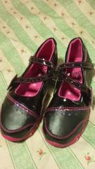 新品マザウェイズシューズ靴キラキラハートブラック