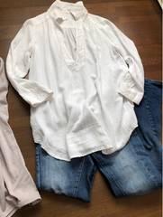 【Rope picnic】白スキッパーシャツとろんと素材着回し抜群