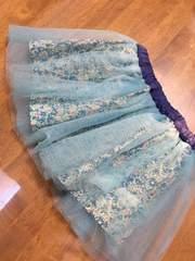 キュロットスカート 花柄 チュール ブルー 水色 90 リオ little