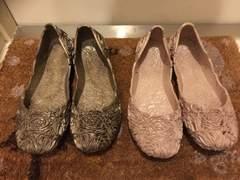 最終値下バレーシューズ花柄透かし編L24前後美品ピンク雨靴