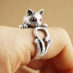 特A品 ★送料無料★ 猫ネコ抱き15号〜23号リング ルビー指輪