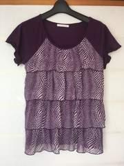 ELLE PLANETE 紫 水玉フリフリ size38 トップス N2m