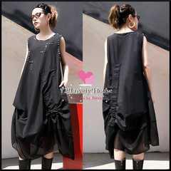 〜3L*大きいサイズ*裾シフォン&スタッズ&シャーリング綿麻ノースリチュニワンピース*黒