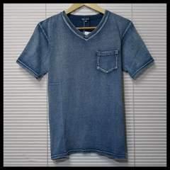 新作 インディゴカットデニムTシャツ Vネック/BLUE/M