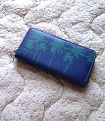 ハワイアン  ヤシの木 ロングウォレット 長財布◆ネイビー