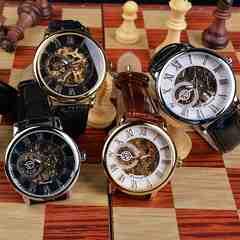 メンズ腕時計 手巻き式 スケルトン 革ベルト 腕時計