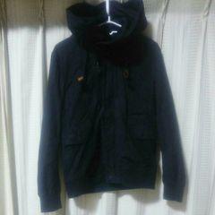 U.S.BOARDERダブルジップデザインパーカーLサイズ黒ブルゾンストリートメンズ中古服