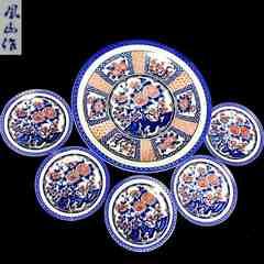 美術陶器 萬古焼?鳳山作 四君子 大皿&小皿 6枚セット