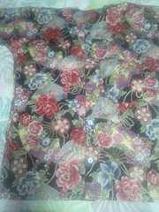 ☆新柄黒×金彩花大扇子牡丹和柄ダボシャツM