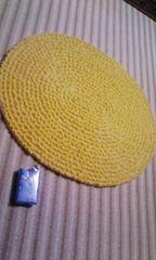 ハンドメイドマットアクリル毛糸モコモコ黄×オフホワ
