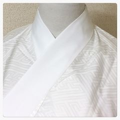 美品 未使用 上質 化繊 長襦袢 白地 紗綾形 単衣仕立て 中古品
