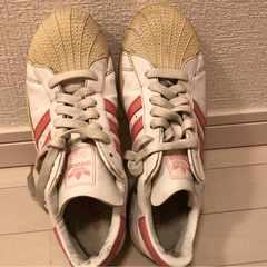adidas 24.0 ピンクライン ホワイト スニーカー シューズ 白