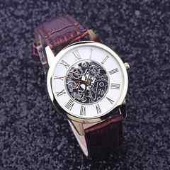 腕時計 ギリシャ文字 クォーツメンズ レザー ベルト ウォッチ 茶
