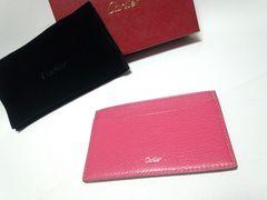 正規 新古 カルティエ Cartier ピンクレザーカードケース 名刺入れ パスケース