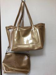 ゴールドエナメルバッグ2点セット 送料800円