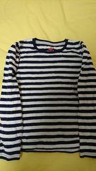 即決☆120�a紺のボーダー長袖Tシャツ