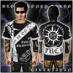 送料込ヤクザオラオラ系ブランド半袖Tシャツ/悪羅悪羅系服/太陽13008黒2-XL