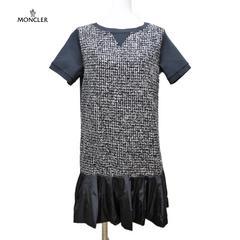 新品モンクレールMONCLER異素材ミックス 半袖ワンピース 黒#S