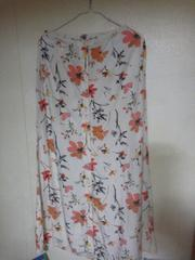 エディー バウアー オレンジ花柄が可愛いロングフレアースカート/M/美品♪