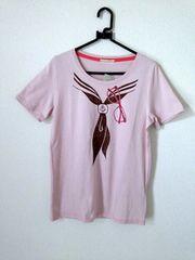 マリン スカーフ サングラス プリント ピンク Tシャツ M