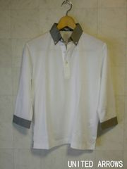 □ユナイテッドアローズ 切り替え 七分袖 シャツ/メンズ・ホワイト☆新品
