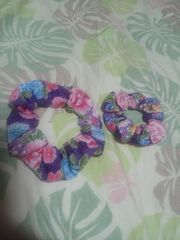 ☆新品紫×牡丹藤菊和柄シュシュ大小2ケセット