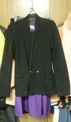 黒ウールアンゴラジャケット長袖丈長め襟なしダブル2ボタンS〜M