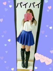 バイバイ 青 フレアスカート