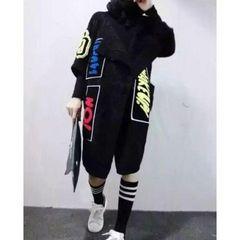 ニット コーディガン セーター ワッペン付き ブラック 7分丈袖