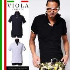 【VIOLA rumore】オラオラ♪イタリアン蛍光ラインブランドレザープレートポロシャツ