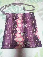 ☆新品濃紫×縦縞桜柄ナナメ掛巾着袋