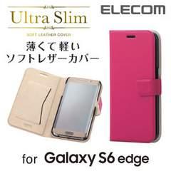 ☆ELECOM au/docomo Galaxy S6 edge用 レザーケース ピンク