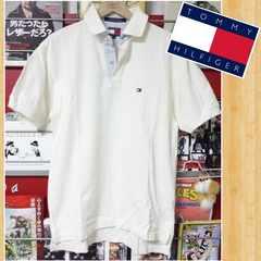 TOMMY HILFIGER トミーヒルフィガー ロゴ刺繍 ポロシャツ S オフホワイト 美品